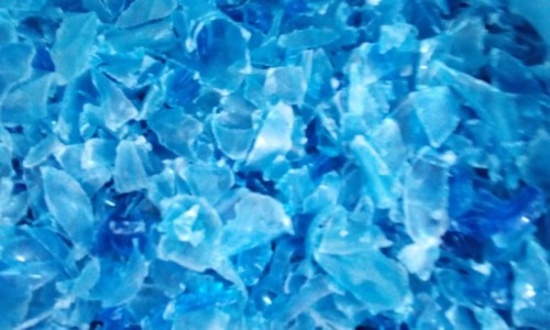 Plastic Hot washed rPET Blue Flakes